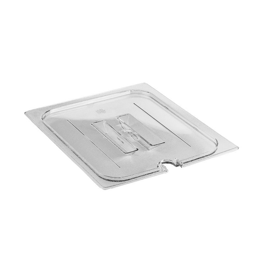 COVER PAN 1/2 SIZE NOTCHED W/HANDLE CLEAR