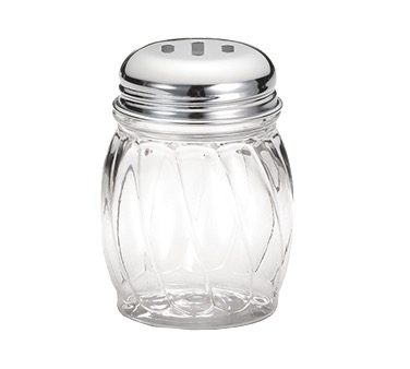 SHAKER CHEESE 6 OZ GLASS SWIRL SLOTTED LID