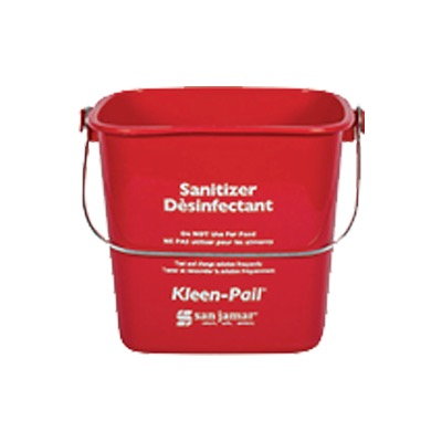 PAIL 3 QT RED PLASTIC FOR SANITIZING SOLUTION W/HANDLE