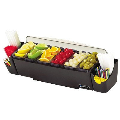 CONDIMENT BAR DOME COVR 6 TRAY BLACK BASE 6-PINT CONT 2 CADDIES 2 HANDLES
