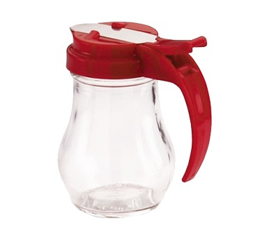 SYRUP DISPENSER 6 OZ GLASS W/RED TOP