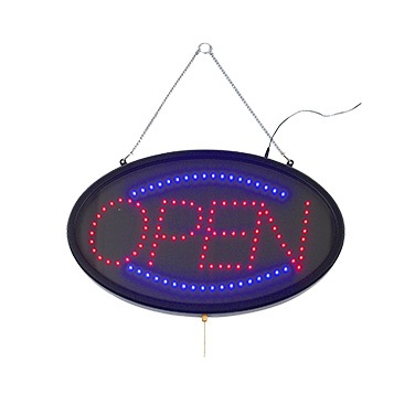 OPEN SIGN LED W/THREE FLASHING PATTERNS RED/BLUE
