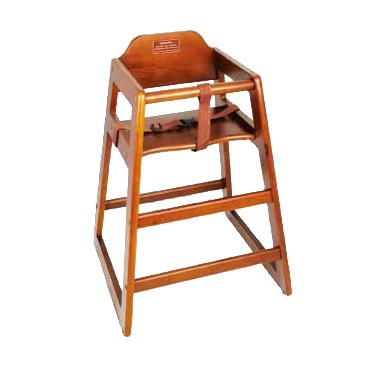 HIGH CHAIR WOOD WALNUT FINISH W/STRAP