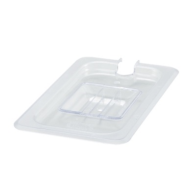 COVER PAN 1/4 NOTCHED W/HANDLE CLEAR