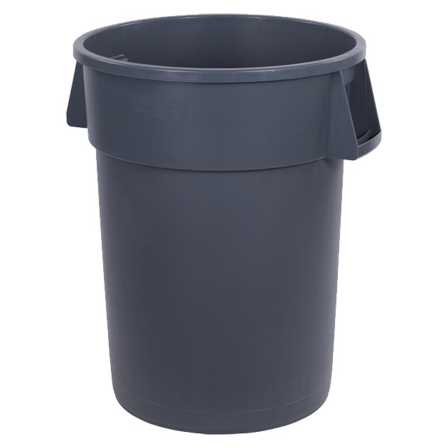 CONTAINER WASTE 44 GAL GRAY ROUND