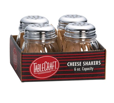 SHAKERS CHEESE 6 OZ SWIRL GLASS JAR CHROME TOP TABLECRAFT (4/PK)