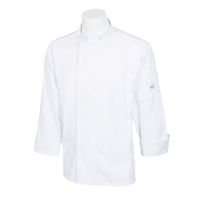 COAT CHEF UNISEX LONG SLEEVE MESH BACK WHT XS