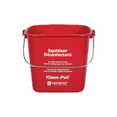 PAIL 6 QT RED PLASTIC FOR SOAP SOLUTION W/HANDLE