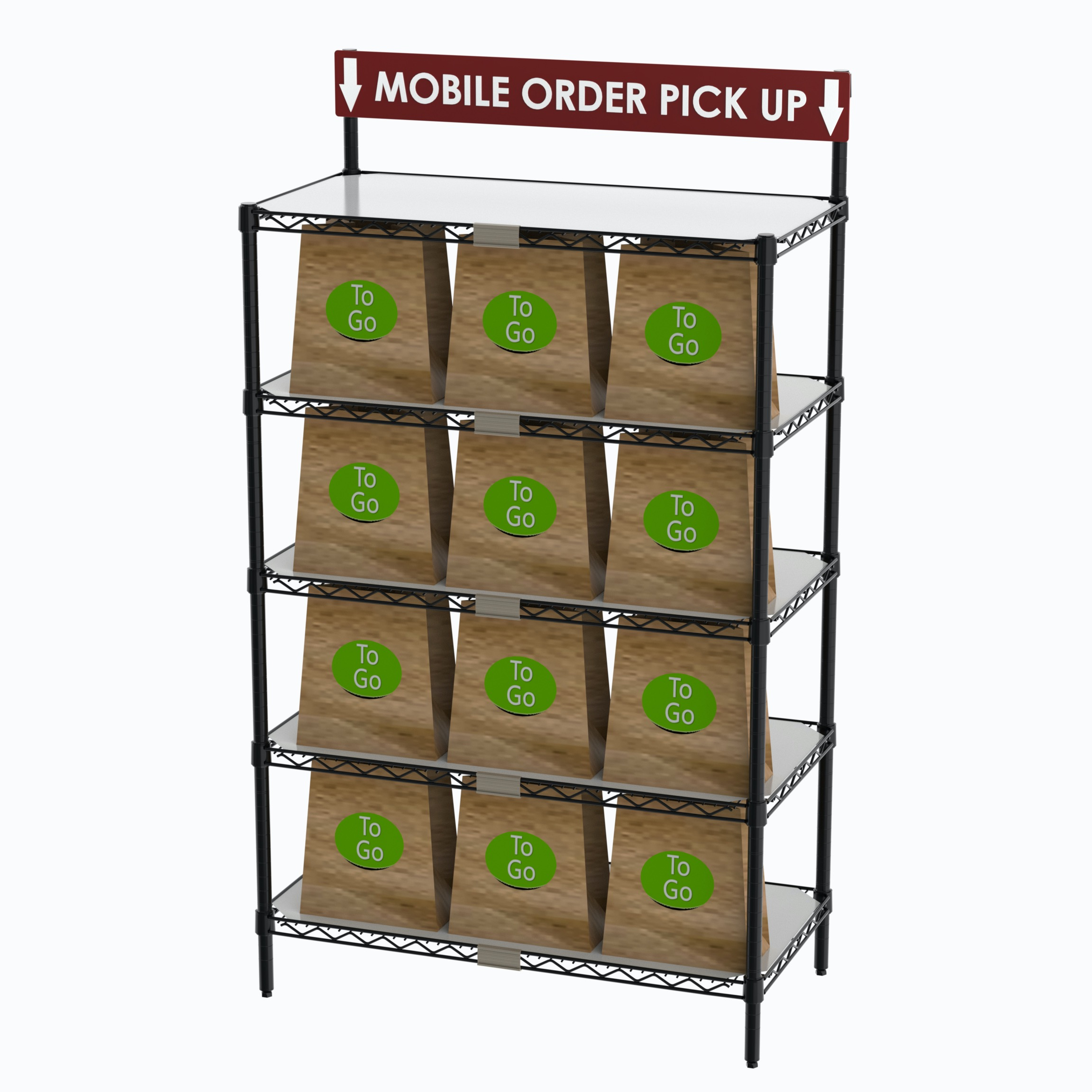 STATION TO-GO ORDER PICK-UP WITH SIGN, 36''W X 18''D X 63''H, SHIPS IN ONE BOX