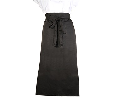 APRON BISTRO BLACK 33X29 WOUT POCKET 2 SIDED