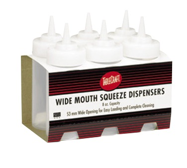 SQUEEZE BOTTLE WIDE MOUTH 8OZ CLEAR (6PK)