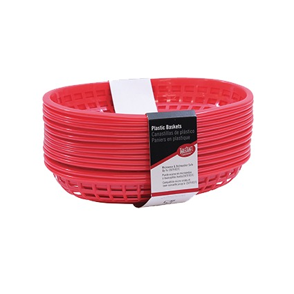 BASKET PLASTIC OVAL 9-3/8X6 RED (1 DZ PACK)