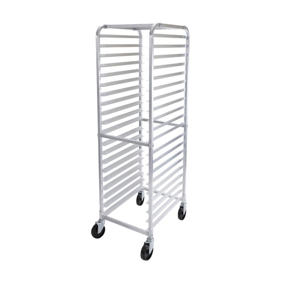 PAN RACK WELDED ALUM 20-PAN W/CASTERS & BRAKES